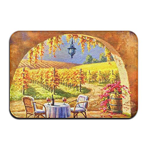 Vine Chair Mat Design (DDIAN Sunny Vineyard Vine Yard Painting Mountains Art Chairs Non Slip Mat, Kitchen, Toilet, Laundry, Bedroom Or Pet Mat.)