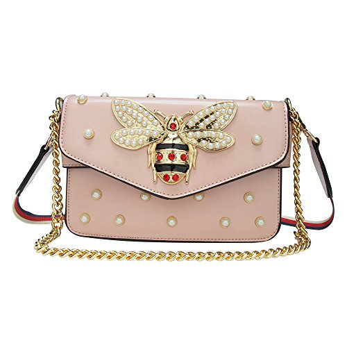 Beatfull Designer Pu Handbags for Women, Fashion Bee Leather Shoulder Bags Cross Body Bag with Pearl (Pink)