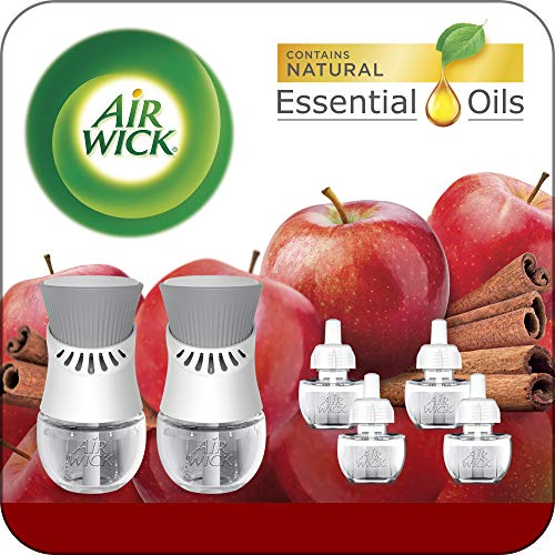 Air Wick Plug in Scented Oil Starter Kit, 2 Warmers + 6 Refills, Apple Cinnamon, Fall Scent, Fall Spray, Eco Friendly, Essential Oils, Air Freshener
