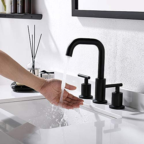 Widespread 8 Inch 3 Holes 2 Handles Bathroom Sink Faucet With Full-Copper Pop Up Drain And Valve By PHIESTINA, Matte Black Finish,WF002-1-MB
