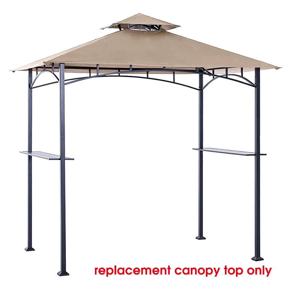 Eurmax 5FT x 8FT Double Tiered Replacement Canopy Grill BBQ Gazebo Roof Top Gazebo Replacement Canopy Roof(Beige) by Eurmax