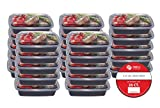 Plastic House Bento Lunch Box 25 Pack/ Single Compartment/ 32 oz./ Reusable/ Dishwasher Safe/ Portion Control
