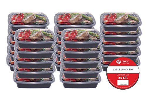 Plastic House Bento Lunch Box 25 Pack/ Single Compartment/ 32 oz./ Reusable/ Dishwasher Safe/ Portion Control (Sky Limit Blue)