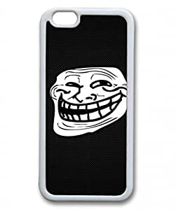 E-luckiycase TPU Supple Shell Troll Face Illustration Drawing White Skin Edges for Iphone 6 Case