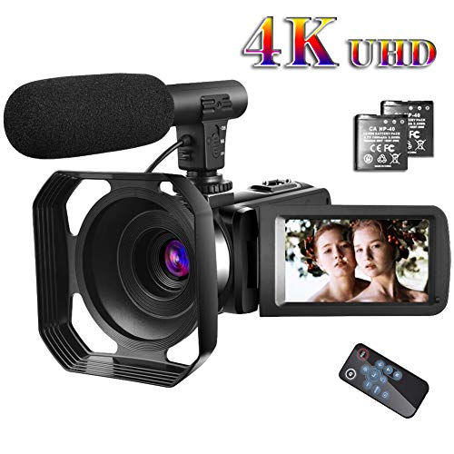 Video Camera 4K Camcorder with Microphone Vlogging Camera YouTube Camera Recorder Ultra HD 30FPS 48MP 3.0″ IPS Touch Screen with Lens Hood & 2 Batteries
