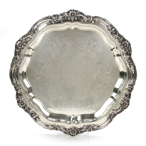 Round Tray by F. B. Rogers, Silverplate, Chased, Footed for sale  Delivered anywhere in USA
