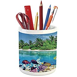 Pencil Pen Holder,Ocean Island Decor,Printed Ceramic Pencil Pen Holder for Desk Office Accessory,Sandy Seacoast and The Underwater Aquatic World in Maldives Travel Diving Paradise Photo