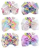 Baby Girls JOJO Scrawl Hair Bow 8Inch Grosgrain Ribbon Rainbow Hair Clips Barrettes Hair Accessories Kids Colorful Headwear (Mix Pack 50pcs)