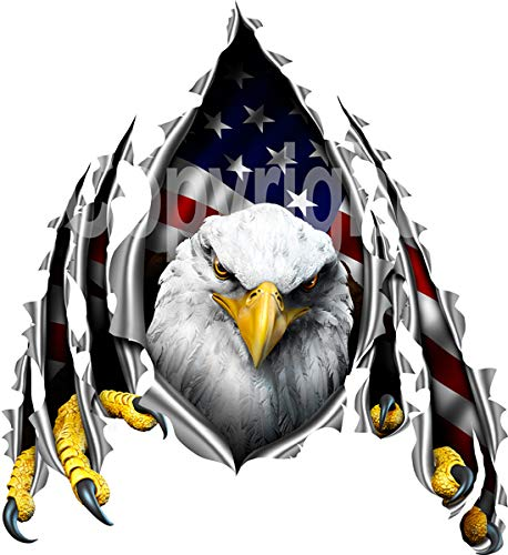 (avgrafx Eagle American Flag Rip Decal RV, Camper, Trailer, Truck Laminated (12x11 Inches) )