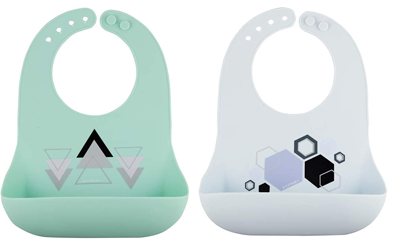 GeoBaby Soft Silicone Modern Food Catcher Bibs, Easy Clean and Washable, Adjustable, Waterproof Baby Bib (2 Pack)