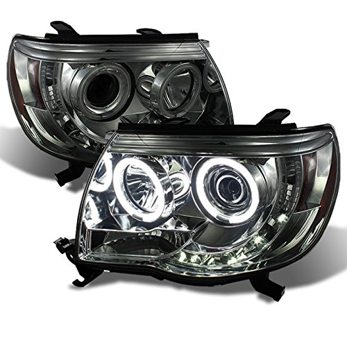 Toyota Tacoma Pickup Smoked Smoke Dual CCFL Halo Ring Projector LED Replacement Headlights Lamps (Ccfl Halo Projector Headlights Lamps)