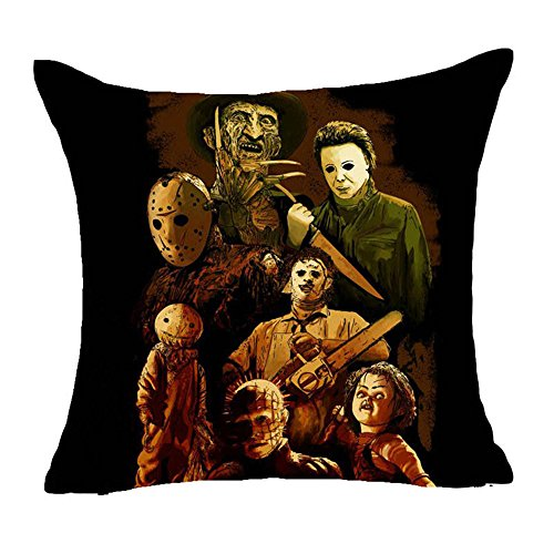 Fyon Ghost Freddy Toy Bear Doll Horror Game Cushion Cover Classic Game Pillow Cover Decorative Pillows Sofa Car 18x18inch 10X ()