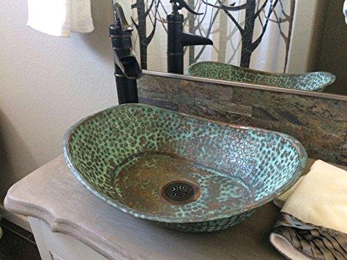 Cheap  Egypt gift shops Verde Oxidized Copper Vanity Bathroom Sink Toilet Oval Bathtub..