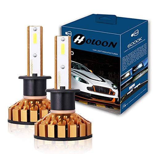 H1 Led Headlight Bulb, 10000LM Extremely Bright CSP Chips Mini LED Headlight Conversion Kit 60W 6000K Cool White - 2 Years Warranty by HOLOON
