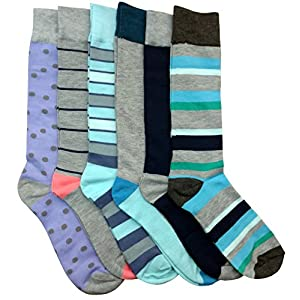 6 Pairs of Mens Dress Socks, Fashion Dress Socks, Dress Socks for Men,Pack I (6 Pairs),Size:8-12