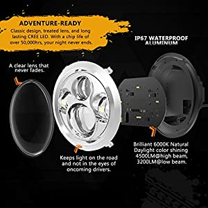 "7"" LED Headlight For Harley Davidson MOTORCYCLE CHROME PROJECTOR DAYMAKER HID LED LIGHT BULB for Jeep Wrangler JK LJ CJ LED Headlamp"