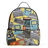 My Daily Classic Videogames Pattern Backpack for Boys Girls School Bookbag