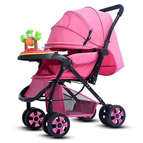 (SCJ Baby Stroller with Dining Table, Non-Slip wear-Resistant Pushchair, Four Seasons Universal/with Cup Holder/Mosquito/Sun Protection - (0-3 Years Old))