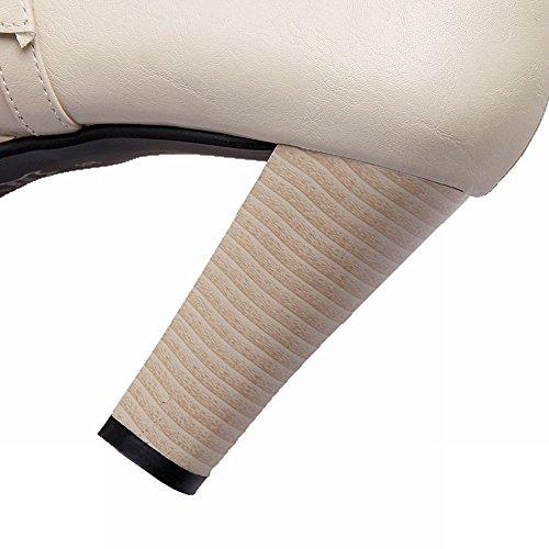 Mee Shoes Damen Blockabsatz Plateau runde ankle Boots Beige
