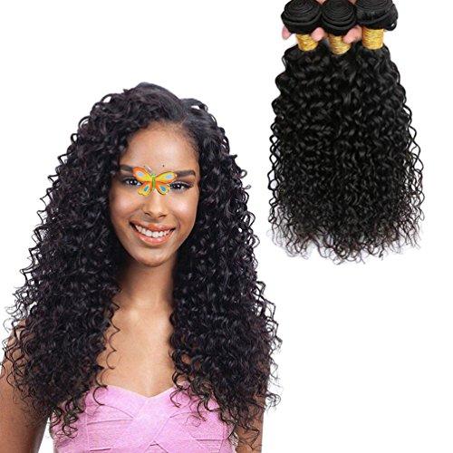 JINREN Brazilian Curly Hair 3 Bundles 16 18 20inch Unprocessed Brazilian Virgin Hair Curly Human Hair Weave Natural Black Brazilian Curly Virgin Hair Bundles