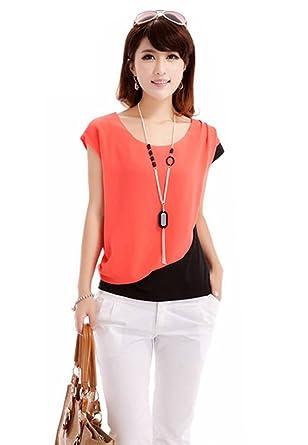 Zehui Womens Crew Neck Block Color Short Sleeve Shirt Chiffon Tops Blouse Red UK10