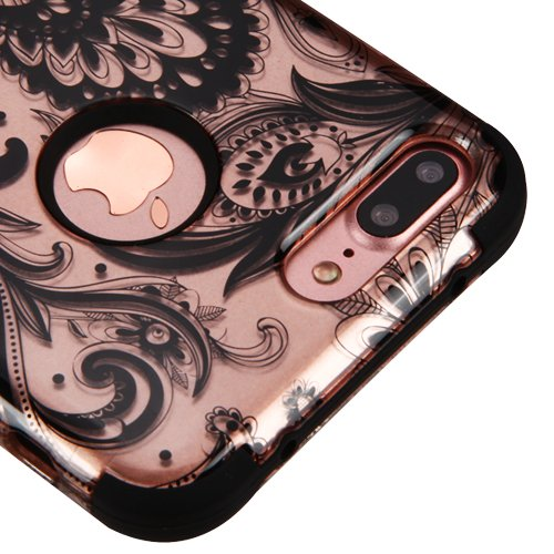 Price comparison product image For iPhone 7 Plus Case, Kaleidio [TUFF] Rugged Shockproof Hybrid 3-Piece Dual Layer Protective Heavy Duty Armor Cover [Includes a Overbrawn Prying Tool] [Rose Gold Paisley Design]