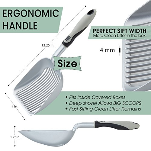 iPrimio XL Cat Litter Sifter with Deep Shovel Patented Silver Poop Scooper with Solid Handle - Made up of Non Stick Plated, Solid Aluminum