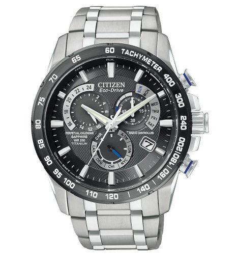 Mens Watch Citizen AT4010-50E Atomic Titanium Black Dial Eco-Drive Chronograph ()