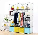 plastic bins for clothes - UNICOO - Multi Use DIY 20 Cube Organizer, Wardrobe, Bookcase, Storage Cabinet, Wardrobe Closet With Design Pattern - (Deeper Cube, Semitransparent)