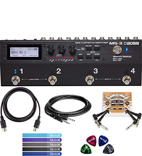 BOSS MS-3 Multi Effects Switcher Bundle with Hosa CPP-103 Unbalanced Audio Cable, Blucoil 5-Ft MIDI Cable, 2 Pedal Patch Cables, 5-Pack of Reusable Cable Ties, and 4 Guitar Picks