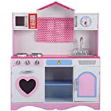 Costzon New Wood Kitchen Toy Kids Cooking Pretend Play Set Toddler Wooden Playset Gift