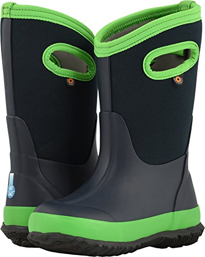 Bogs Classic Waterproof Insulated Rubber Neoprene Rain and Snow Boot, Matte Navy/Green, 11 M US Little Kid