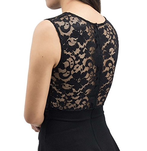 Sylvestidoso Women's A-Line Sleeveless Pleated Little Black Cocktail Party Dress with Lace Back (L, Black)