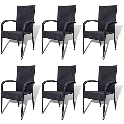Festnight Outdoor Patio Garden Wicker Stacking Dining Chairs Set of 6,Poly ()
