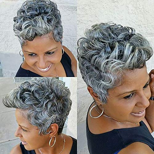 RNTOP_Wigs Hair ☘️RNTOP☘️11 inch,Older Ladies Womens Wigs Little Curly Black and Grey Silver Costume Wig Short Old Age for Party Halloween Wavy Silver Short Wig (Gray) ()