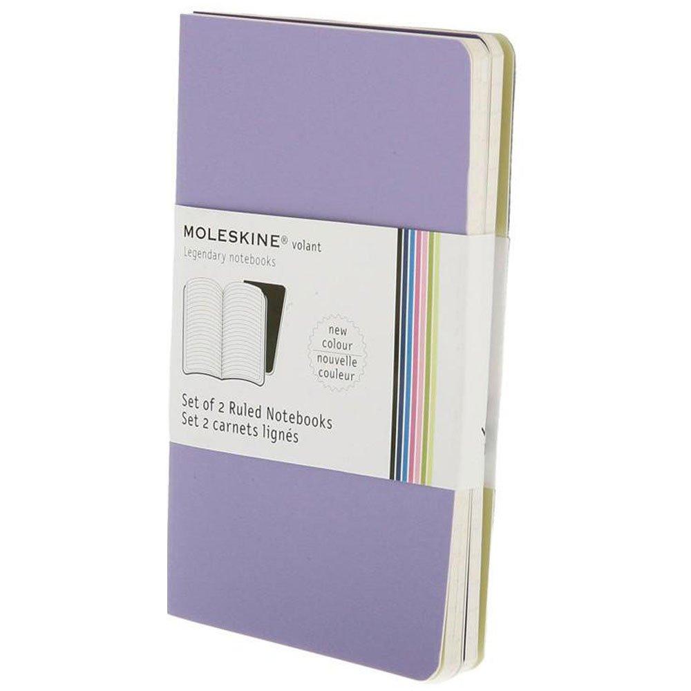 Moleskine Volant Notebook (Set of 2), Pocket, Ruled, Light Violet, Brilliant Violet, Soft Cover (3.5 x 5.5)