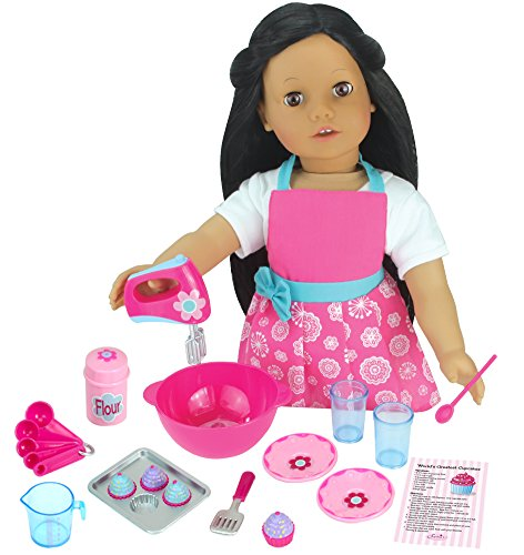 18 PC. Set of 18 Inch Doll Apron Plus Baking Accessory Set for Dolls, Mini Doll Food & Apron Cookware Set by Sophia's