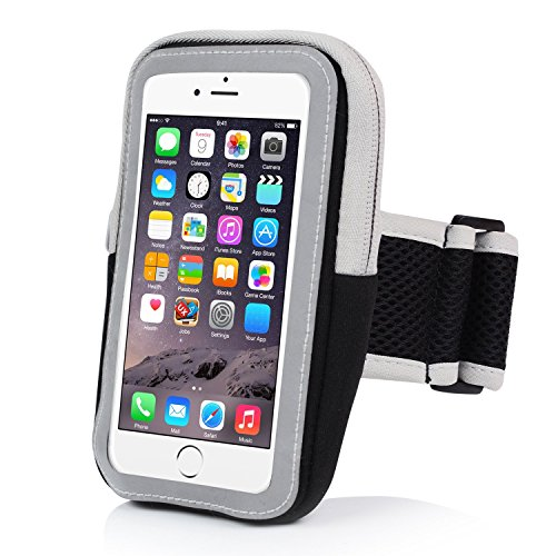 (Yostyle 5.5 Sports Armband Sweatproof Running Armbag Gym Fitness Workout Cell Phone Case for iPhone X 8 7 6s Plus Samsung Galaxy S5 S6 S7 S8 Edge 5.5 Inch(Black))
