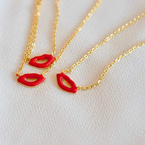 Dainty Red Lips Necklace Sterling Silver with Enamel ()