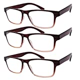 Reading Glasses for Men and Women,3 Pack Rectangular Gradient Brown Glasses Comfortable Large Frame Soft Plastic Quality Computer Readers Attach Accessories AC Clear Vision Corrective Lenses-VVDQELLA