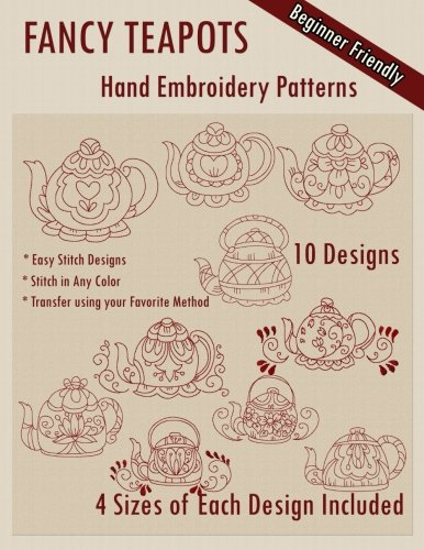Redwork Kitchen - Fancy Teapots Hand Embroidery Patterns