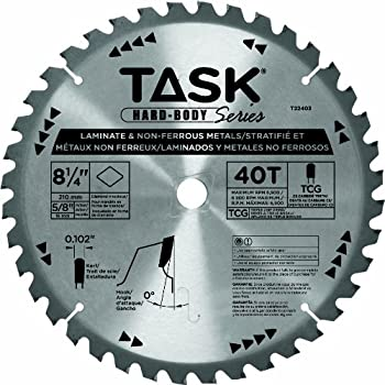 Task Tools T22403 8-1/4-Inch Hard Body Carbide Saw Blade, Laminate and Non-Ferrous Metal with 5/8-Inch Arbor