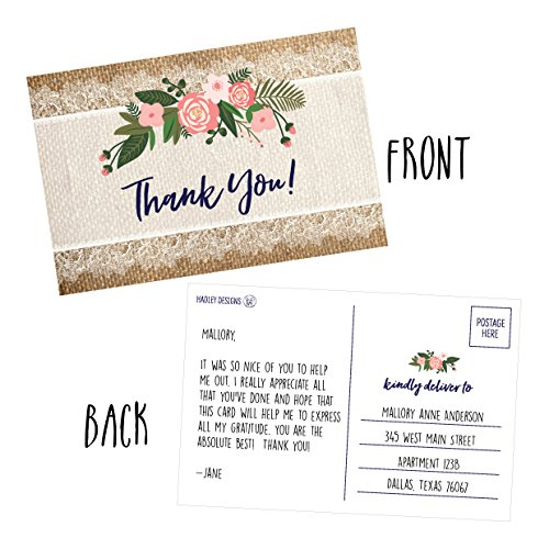 50 4x6 Rustic Flower Thank You Postcards Bulk, Cute Kraft Floral Watercolor Note Card Stationery For Wedding, Bridesmaid, Bridal or Baby Shower, Teachers, Appreciation, Religious, Business, Holiday Photo #2