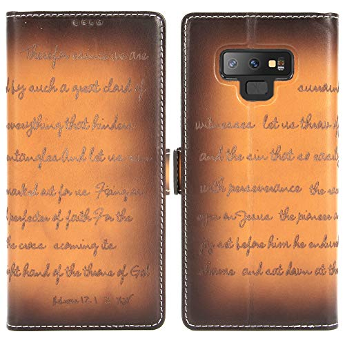 (Galaxy Note 9 Leather Case - iPulse Bible Verse Series Vegetable Tanned Full Grain Leather Flip Wallet Case for Samsung Galaxy Note 9 with Magnetic Closure - Retro Cognac)