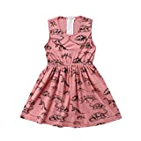 Peter Pan Collar Dinosaur Girl Dress Summer Girls Dress Animal Dinosaur Zipper Dress