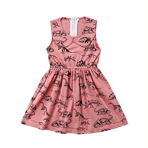 (Peter Pan Collar Dinosaur Girl Dress Summer Girls Dress Animal Dinosaur Zipper Dress)