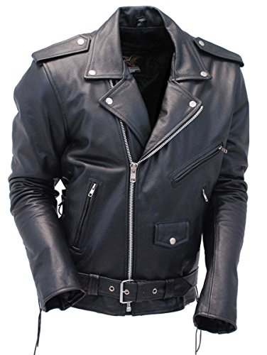 Jamin' Leather Premium Classic Side Lace Leather Motorcycle Jacket (66) #M15L