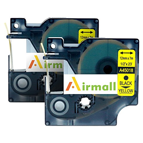 """Airmall 2 Pack D1 45018 S0720580 Replacement Label Tape Compatible for DYMO LabelManager 160 12mm Black on Yellow (1/2"""" x 23' 12mm x 7m 45018 )"""