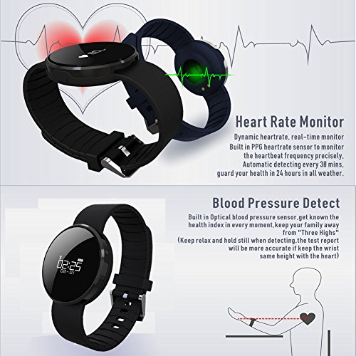 HopCentury Bluetooth Smart Watch Bracelet Heart Rate & Blood Pressure Monitor Pedometer for iPhone Android Cellphone Black