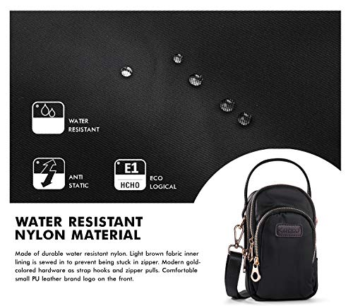 in Shoulder Ladies Black Crossbody Pockets Card with Handbags Zipper Money Black for Katloo Cellphone Bag Nylon Organizers Girls 3 Pouch Universal Bag Wallets Cases Women's qxfAPcCwO